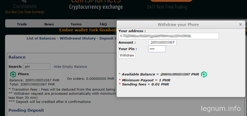 withdraw phr