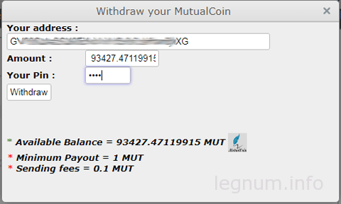 withdraw mutual coin