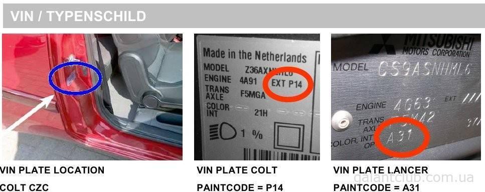 Коды заводской краски Mitsubishi