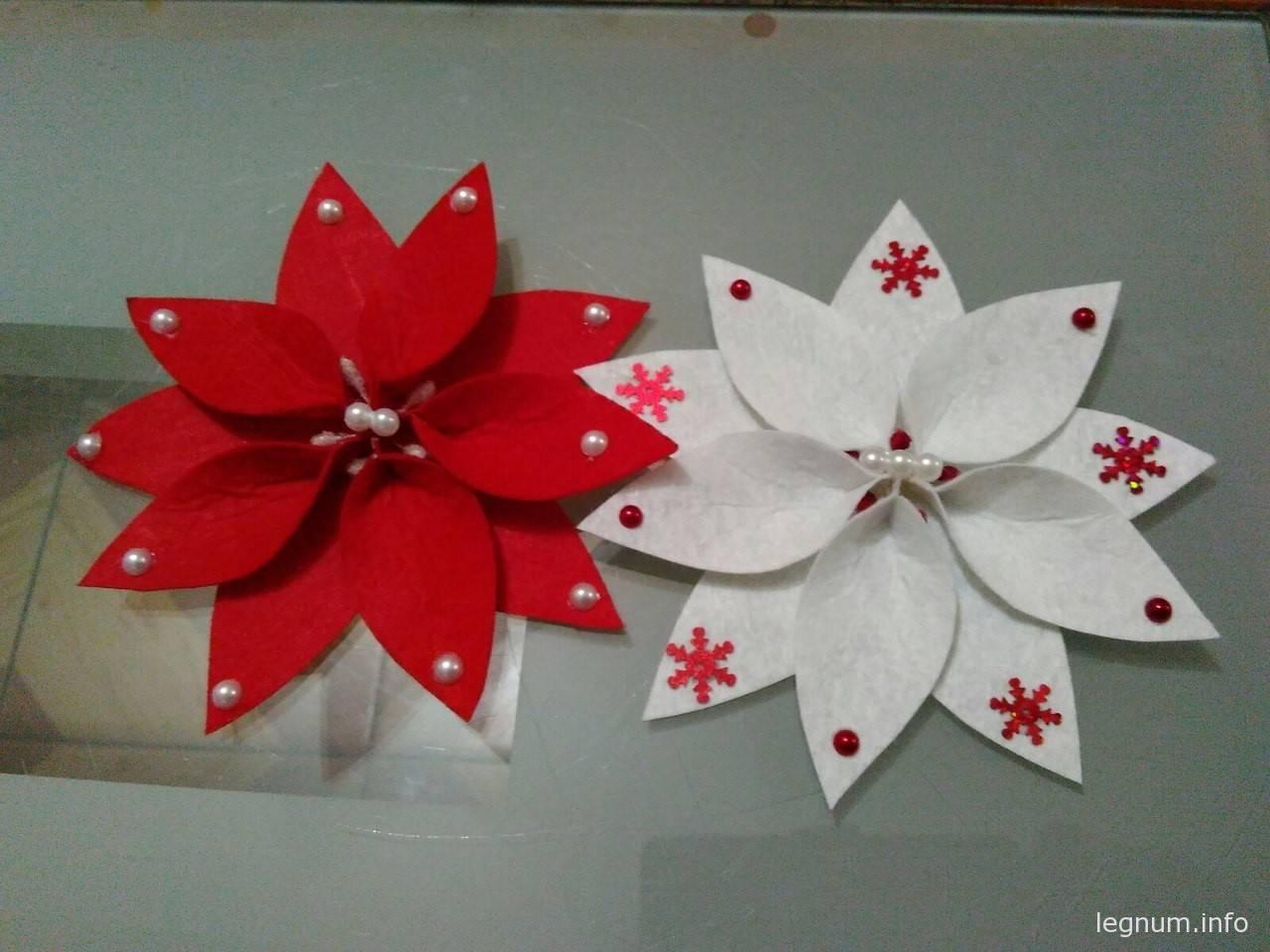 Получаем красивый рождественский цветок Пуансеттия, без особых усилий и потраченного времени: