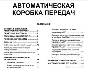 Содержание мануала по АКПП Галант
