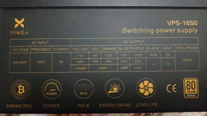 Спецификация Блок питания Vinga 1650W (VPS-1650 V2 Mining edition)