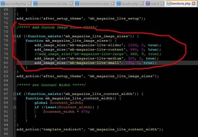 Настройки картинок в function.php