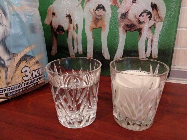 Вода теплая 200мл, молоко теплое 200млСмешиваем молоко и воду